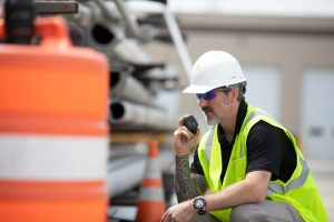 using two way radios on a construction site